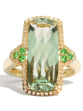 The Mila Vintage Green Amethyst & Diamond Ring