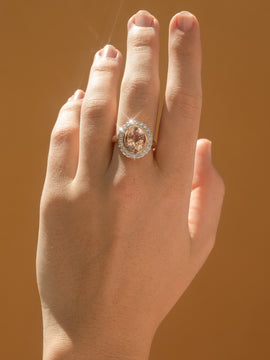 The Ashley Vintage Morganite & Diamond Ring