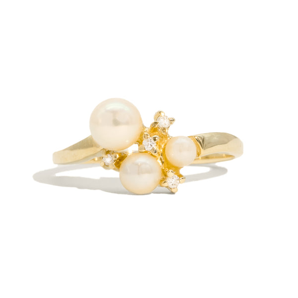 The Mary Vintage Pearl & Diamond Ring