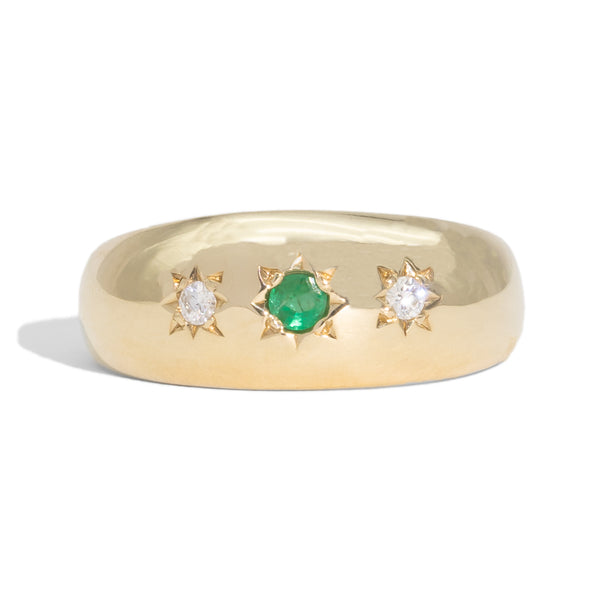 The Juliet Vintage Emerald & Diamond Ring