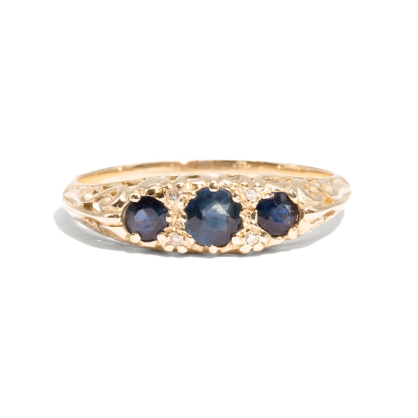 The Emily Vintage Sapphire & Diamond Ring