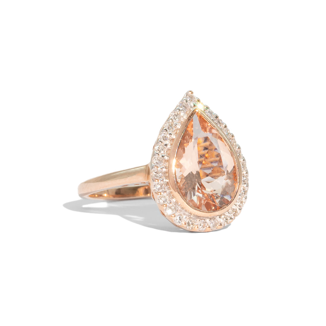 The Jules Vintage Morganite & Diamond Ring