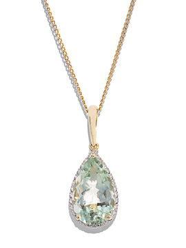 The Clara Vintage Green Amethyst & Diamond Necklace