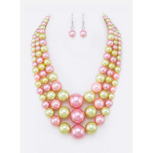 Pink & Green Pearls Set