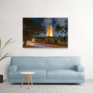 Water tower photo displayed in living room