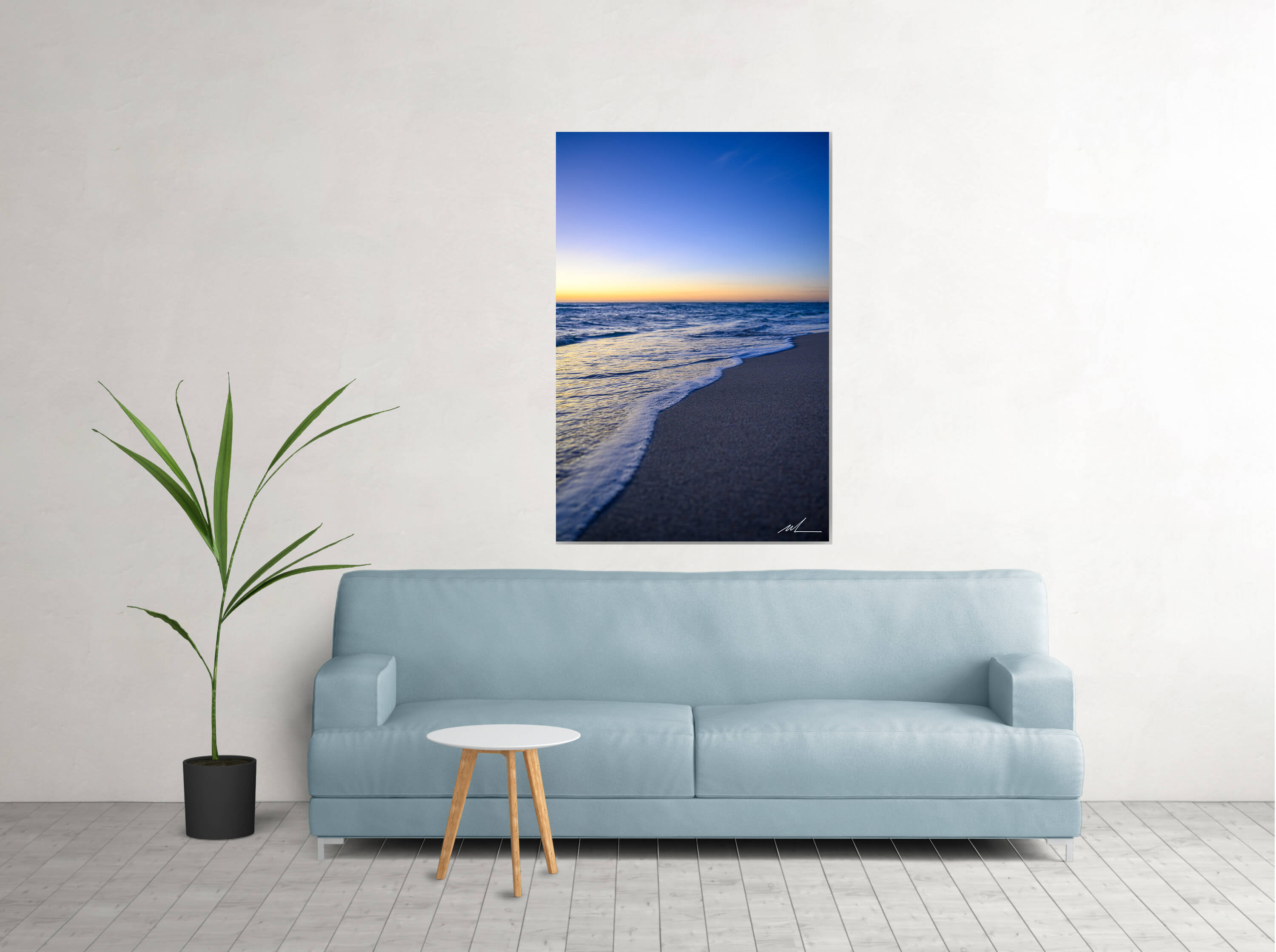 Miami Beach sunrise photo displayed in living room