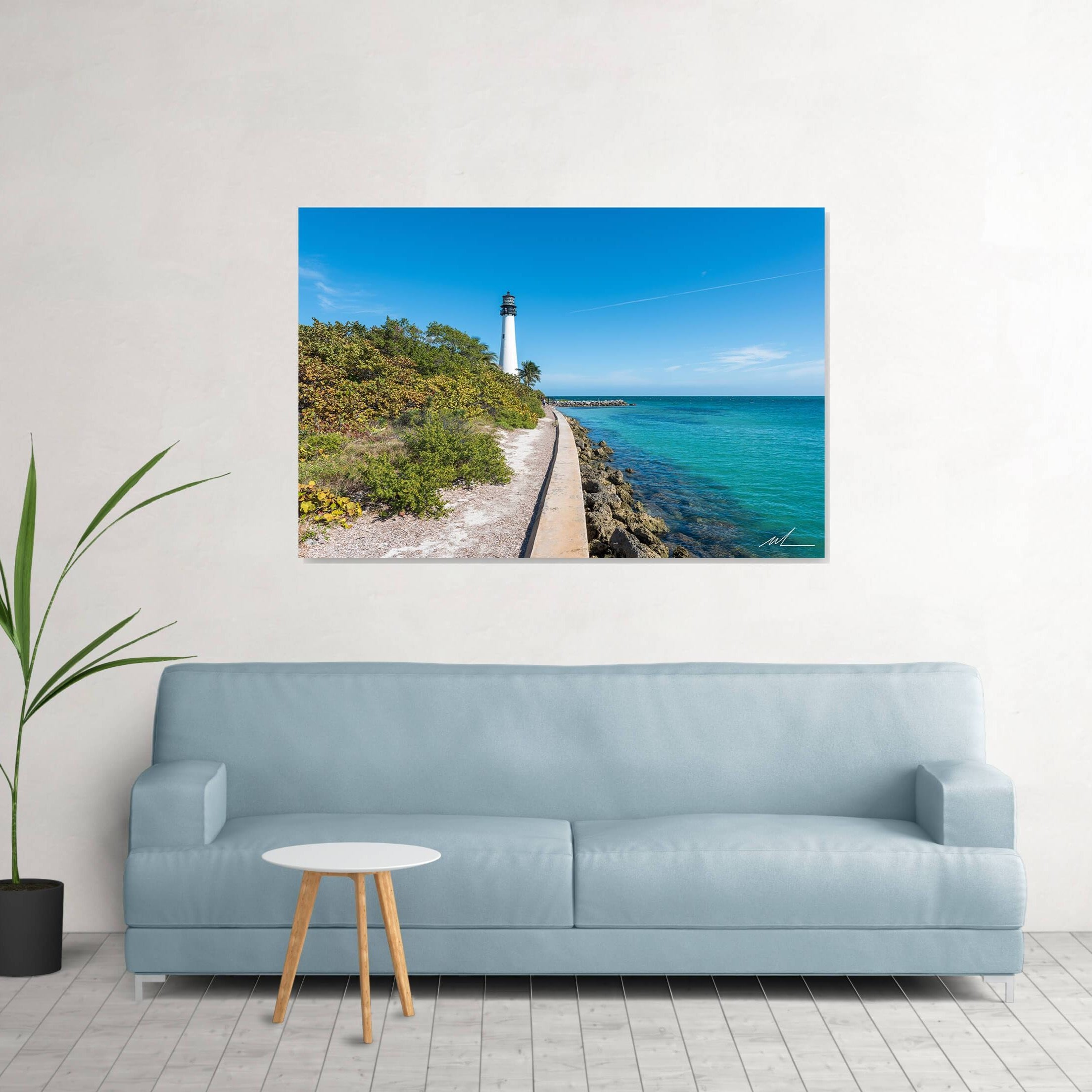 Lighthouse photo in living room