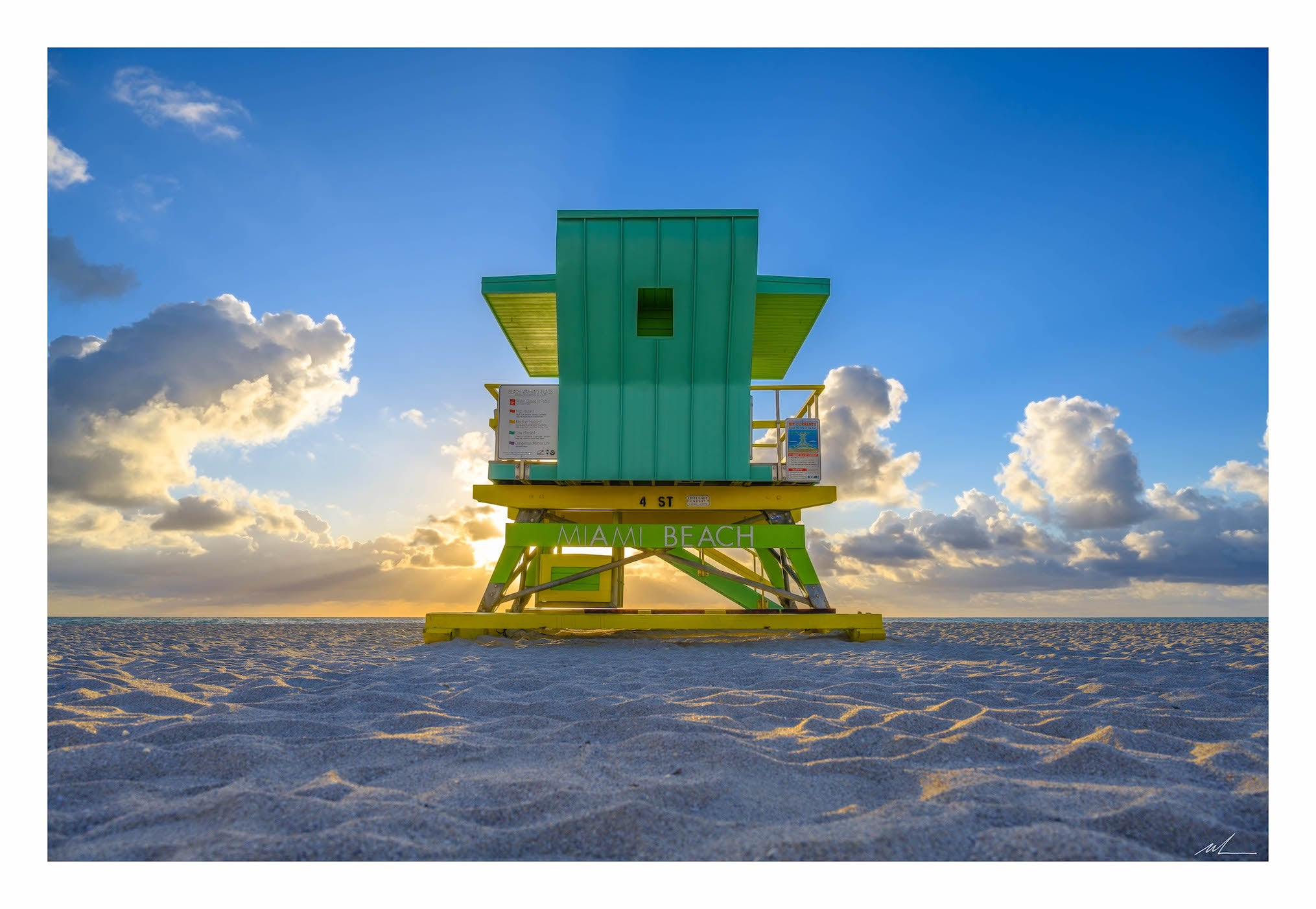 Lime Green Lifeguard Tower Print