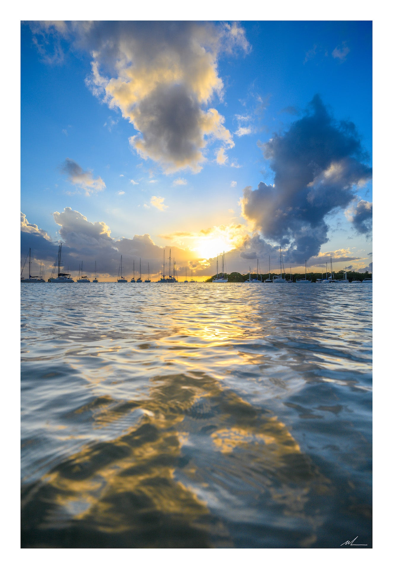 Sailboats Against a Sunset Print