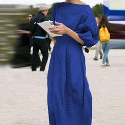 Casual Slim Cotton And Linen Lantern Sleeve Solid Color Dress