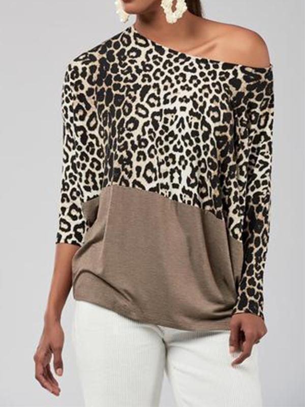 Sexy Off-The-Shoulder Leopard Print Loose Stitching T-Shirt