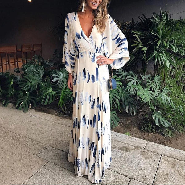 Flash Sale  Sexy Floral Print Long Sleeves Vacation Maxi Dress