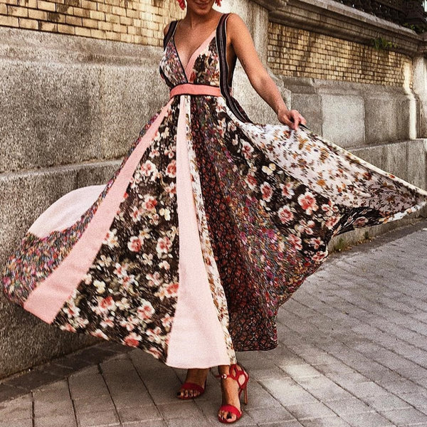 Sexy Brown Floral Print Sleeveless Maxi Dress