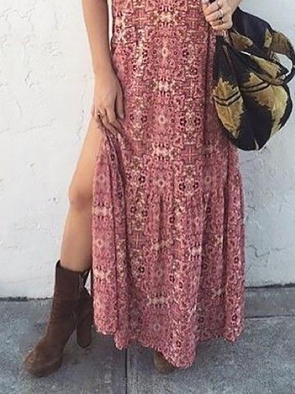 Sexy V Neck Floral Printed Side Split Maxi Vacation Dress