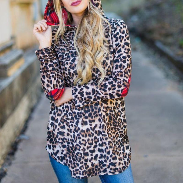 Leopard Printed Hooded Long Sleeve Fashion Hoodies