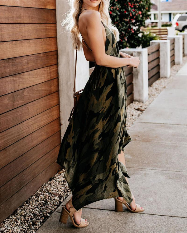 Sexy Camouflage Printing Sleeveless Casual Dresses