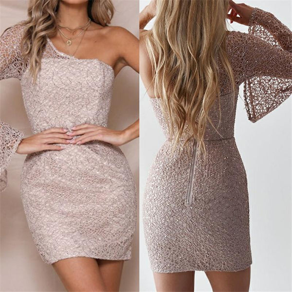 Sexy Single Shoulder Flare Sleeve Paillette Bodycon Dress