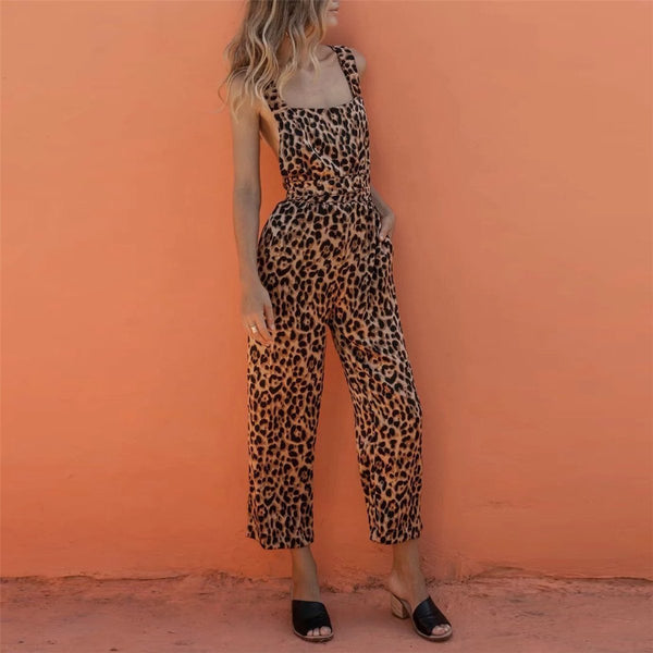 Fashion Leopard Print Crossover Backless High Waist Jumpsuits