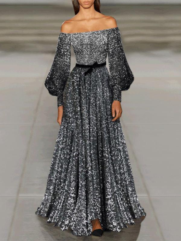 Sexy Fashion Off Shoulder Puff Long Sleeves Sequin Slim Evening Dress
