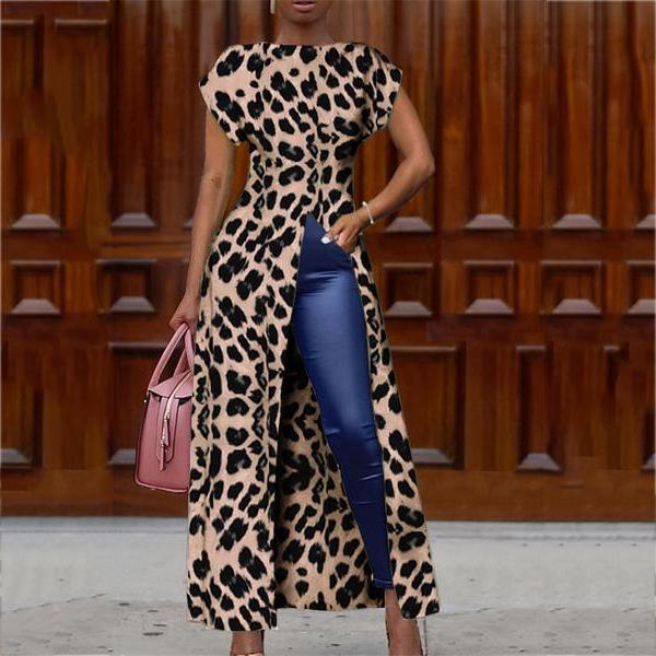 Fashion Round Collar Short Sleeve High Slit Zipper Leopard Print Sexy Blouse