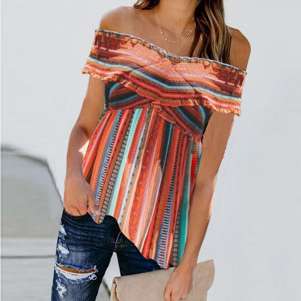 Striped Sexy Crossover Off-The-Shoulder Blouse