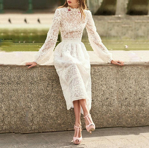 Women's Fashion Bishop Sleeve?Stand Collar Lace Dress
