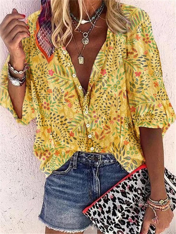 Fashion V-Neck Printed Long-Sleeved Shirts