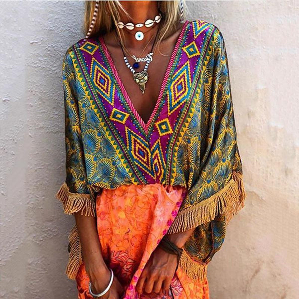 Women Bohemian V-Neck Half Sleeve Tassel Printed Blouse