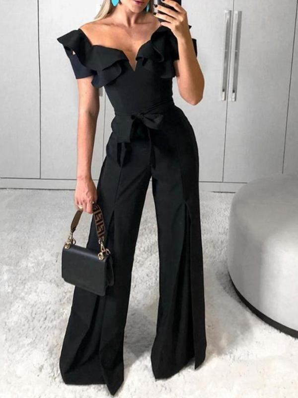 Sexy Fashion Tie With Solid Wide Legged Jumpsuit