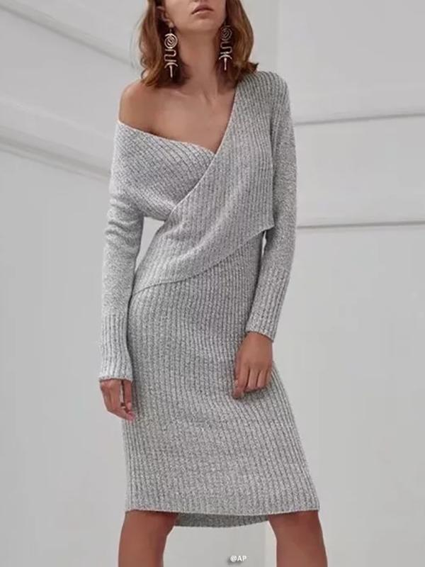 Fashion V-Neck Stack Cross-Knit Dress