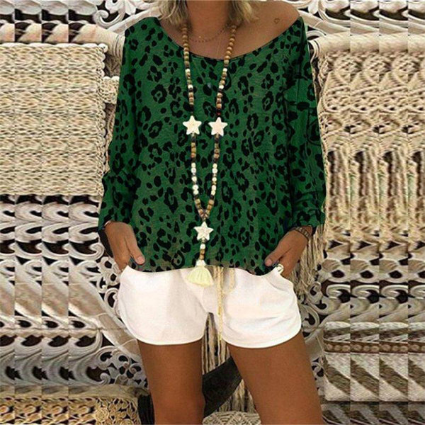 Leopard Print Crew Neck Shoulder Top T-Shirt