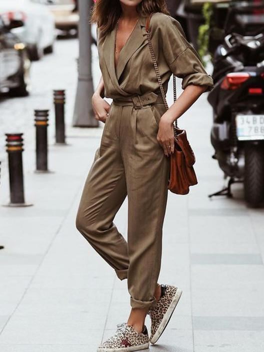 Women's V-Neck Long Sleeve Comfortable Loose Casual Waist Jumpsuit
