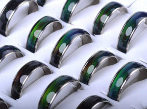 Wholesale Jewelery Bulks 10pcs Mixed Change Color Silver Color Mood Rings