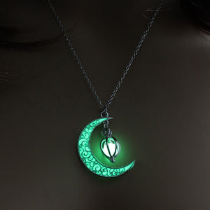 Night Moon Glow In the Dark Necklace