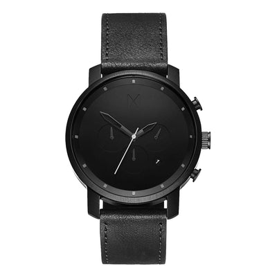 MVMT D-MC01BL Chrono 45 Black Leather Heren horloge