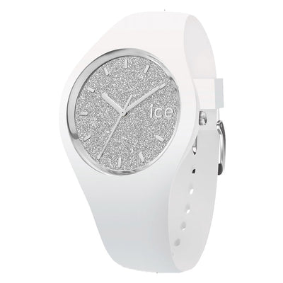 Ice-Watch IW001351 Ice Glitter White Silver Medium Dames horloge
