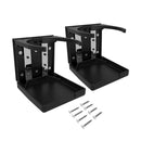 Two black adjustable drink holders with a solid plastic bottom and adjustable top arms to secure container and eight screws for installation.