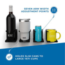 Four black adjustable drink holders holding various sized containers including a wine bottle, large yeti tumbler, skinny can, and a coffee mug.