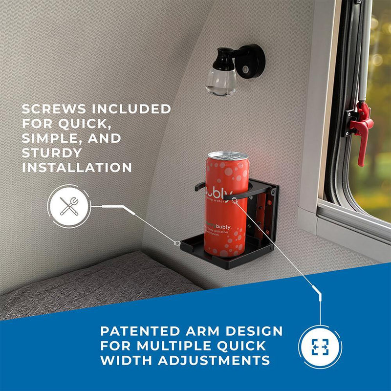 Black adjustable drink holder installed in a RV holding a skinny can with text highlighting the quick and sturdy installation as well as the patented adjustable arm design.