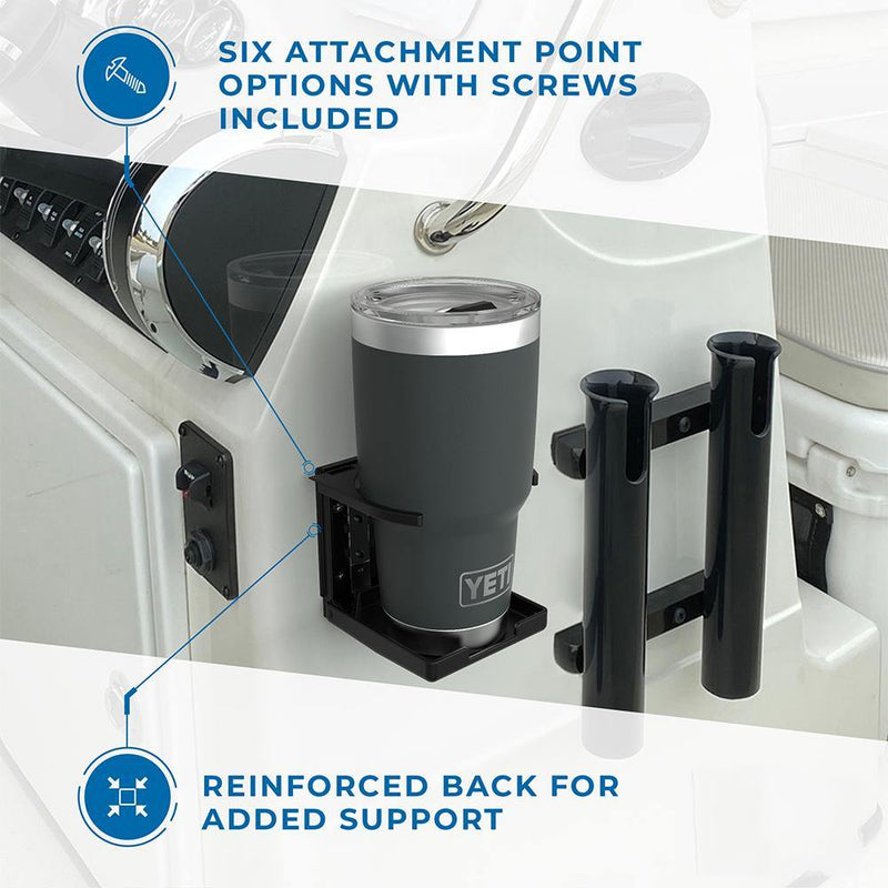 Black adjustable drink holder installed on a boat holding a large yeti tumbler with text highlighting the six screw attachment points and the reinforced back.