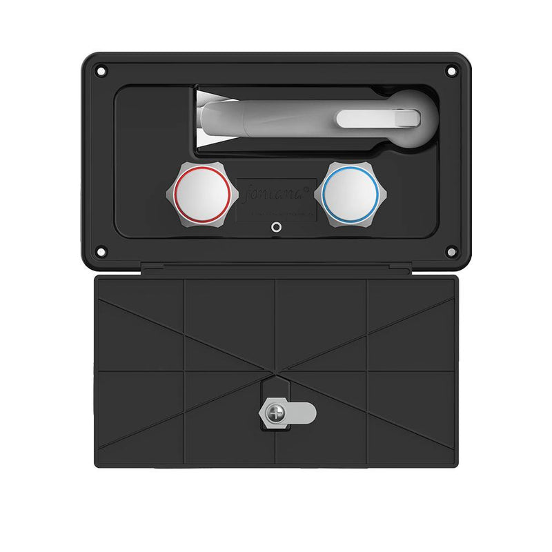 Black rectangular shower box with a key locking door cover open showing shower sprayer and hot and cold water control knobs.