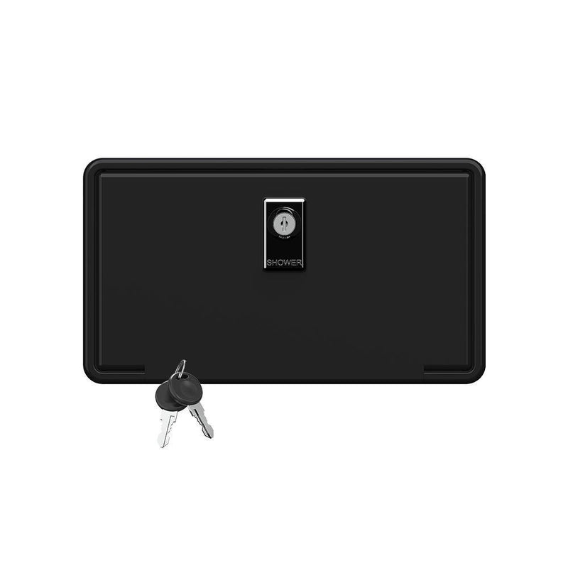Black rectangular shower box with a key locking door cover.