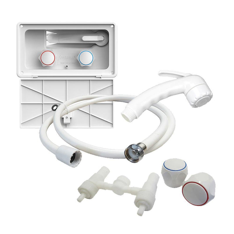 All exterior shower service parts available including shower sprayer, nylon hose, and hot and cold water knobs.
