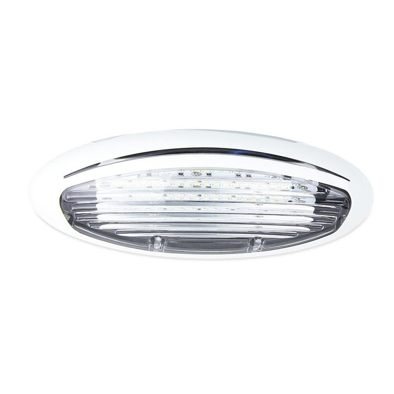Oval shaped LED Porch Light with a white bezel and acrylic lens.