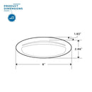 Dimensions of a oval shaped LED Porch Light that is 8 inches wide and 2.86 inches tall.