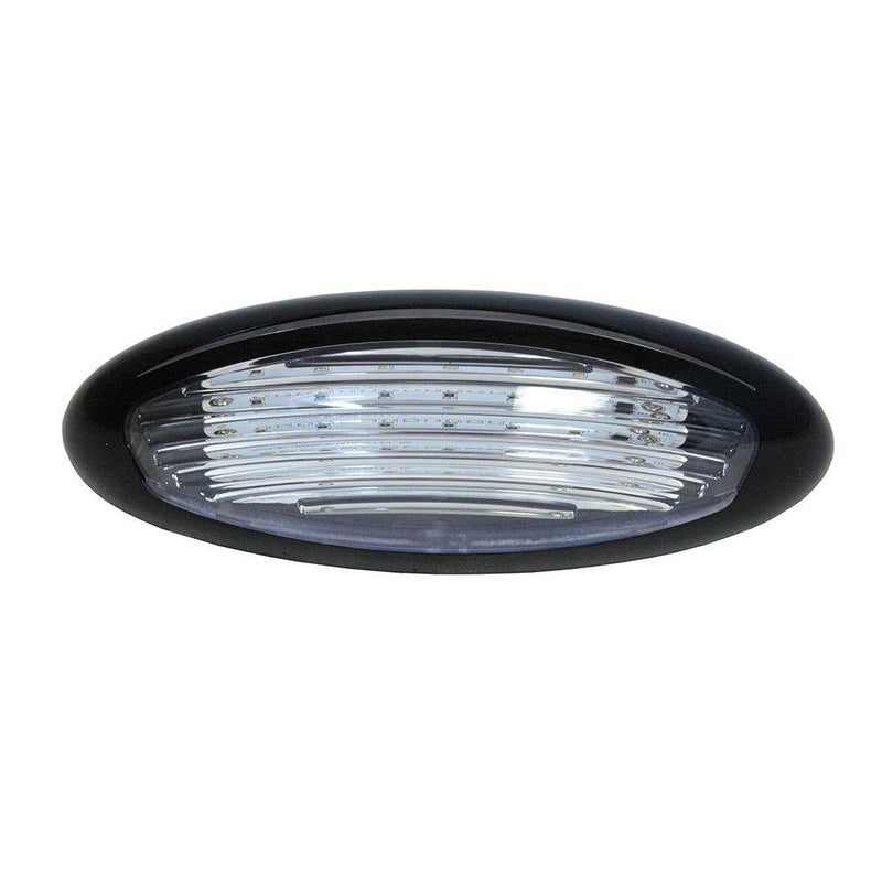Oval shaped LED Porch Light with a black bezel and acrylic lens.