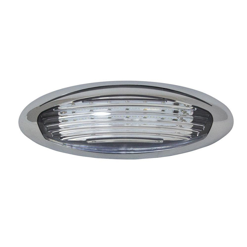 Oval shaped LED Porch Light with a chrome bezel and acrylic lens.