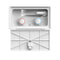 White rectangular shower box with a latch door cover open showing shower sprayer and hot and cold water control knobs.