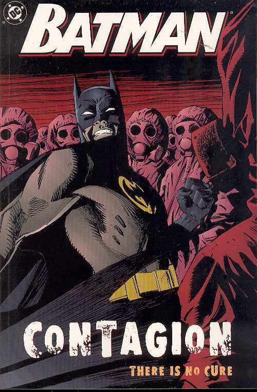 Batman surrounded by individuals in full PPE