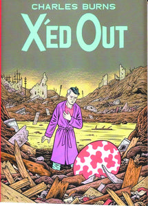 In a devasted city, a man in a bathrobe finds a large red & white mottled egg.